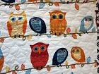 CYNTHIA ROWLEY OWLS 3pc F/QUEEN Quilt SET Blue Teal Red Rusty Ivory NEW