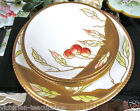 LIMOGES FRANCE HANDPAINTED CHERRY PLATE ARTIST SIGNED WITH 3 SMALL PLATES