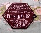 1946 Vintage Car Boat Mascot Badge : Thames Conservancy Pleasure Vessel