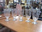set of 5 FOSTORIA NAVARRE Clear Etched Crystal Iced Tea Goblets Stems Glasses