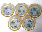 ANTIQUE Hand Painted Reticulated Salad Plate Set (x5) German (?) Wisteria