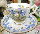 AYNSLEY TEA CUP AND SAUCER SNOWDROP JANUARY FLOWER OF THE MONTH TEACUP