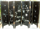 Vintage Chinese Black Lacquer, MOP, Goldfish 6 Panel 12