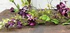 New PURPLE PANSY BERRY GARLAND Flowers Vine Swag Primitive French Country Spring