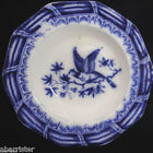 Rare Flow Blue Miniature Toy Soup Plate 1840 Exotic Bird Staffordshire Meigh