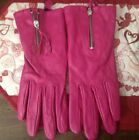 Womens Gloves Leather Hot Pink Sz XS/S