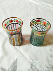MacKenzie Childs Flowers Polka Dots and Striped 3 Dot and Striped Tumblers