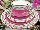 OLDER AYNSLEY TEA CUP AND SAUCER PINK & ROSES PATTERN TEACUP PLUS PLATES