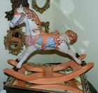 RARE TERRACOTTA CLAY ROCKING HORSE W/ GLAZE, GOLD ACCENTS HORSE BRIDLE