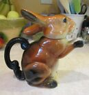 Erphila BUNNY RABBIT teapot made in Germany figural animal pottery Easter
