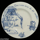Rare  RED RIDING HOOD Blue French Transferware Plate Gien c1900 Fairy Tales LRRH