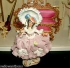 Antique German Dresden Porcelain Lace Victorian Lady Parasol Pink Figurine