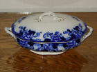 JOHN MADDOCK & SONS ROSEVILLE FLOW BLUE OVAL COVERED VEGETABLE