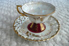 Vintage Royal Sealy China Japan Pedestal Tea Cup + Saucer Yellow Gold Pearlized