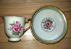 Vintage demitasse cup and saucer Hohenberg rose w/ raised gold trim - gorgeous!