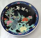 Nippon Chinese Wucai Famille Noir Peacock Plate 8 1/2