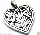James Avery Retired Heart with Flowers Openwork Pendant Sterling Silver