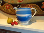 Large Mochaware Banded Antique Pitcher Jug in White and Blue C. 1870  AAFA