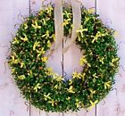 Spring Summer Wreath Country YELLOW FLORAL BERRY BOXWOOD DOOR WREATH DECOR