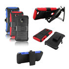 Armor Heavy Duty Rugged Hybrid Hard Holster Clip Case Cover Stand For ZTE Z932L