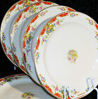 VTG MID CENTURY EDWIN M. KNOWLES CHINA HOSTESS LOT OF 5 DINNER PLATES RED FLOWER