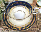 AYNSLEY TEA CUP AND SAUCER COBALT BLUE & GOLD PATTERN  CUP & SAUCER