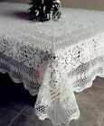 Vintage Handmade 100% Cotton Crochet Lace Tablecloth White/Ecru OB 72x108 72x126