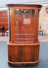 MID-CENTURY ANTIQUE VINTAGE CURVED GLASS CURIO CHINA HUTCH DISPLAY CABINET