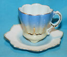 Vtg DEMITASSE CUP & SAUCER Scalloped & Flower Petal Shaped Hand Paint Gold Trim