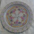 Vintage Plate with Purple Flowers Scalloped Edges Signed Numbered from Portugal