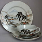Vintage Hand Painted TRIO Cup Saucer Plate Set EGGSHELL PORCELAIN Mt Fuji