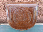 Vintage Brown Leather Coin Pouch Case Purse W/ Design 3.2x3x0.75