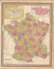 France Antique Map Original French Decor Ancestry Gift Idea Mitchell 1846