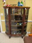 Antique Victorian Dark Tiger Oak Bow Front China Cabinet , 1900-1950, Claw Feet