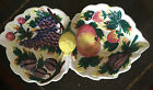 Vintage Hand Painted Italy Divided Ceramic Serving Dish-Fruit Motif