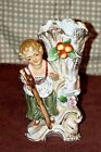 Antique Porcelain Figural Vase Woman on Tree With Dove Flowers Ornate Detailed