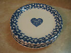 TIENSHAN Folk Craft BLUE HEARTS Sponge STONEWARE 5 Salad Plates 7.75