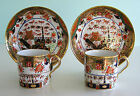 Pair Staffordshire Spode Porcelain ~ RICH IMARI 967 Coffee Cans Saucers c1820 NR