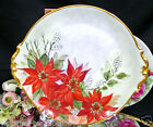 BAVARIA GERMANY PLATTER POINSETTA FLOWERS PAINTED ARTIST SIGNED PLATE