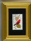 THE SALLYING SCARLET TANAGER  A COLLECTIBLE GLASS FRAMED POSTAGE MASTERPIECE!