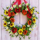 LARGE Spring Summer Wreath Floral Country VIBRANT POPPY FLORAL DOOR WREATH DECOR