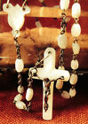 Antique Victorian Hand Carved Mother of Pearl Bead Rosary