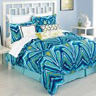 Trina Turk Residential King Peacock Blue Turquoise Bedskirt Cotton 15-inch New