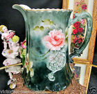 LIMOGES FRANCE HANDPAINTED ARTIST SIGNED PITCHER FLORAL ROSES PATTERN LARGE