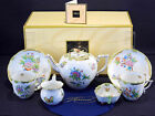 HEREND QUEEN VICTORIA,TEA SET FOR TWO, 7 PIECES,TEAPOT WITH BIRD LID END