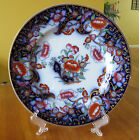 Antique Flow Blue Hand Painted Imari Polychrome Ironstone Plate Smyrna Ashworth