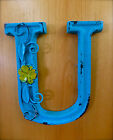 BLUE CAST IRON WALL LETTER