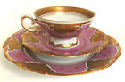 H & Co. Selb Bavaria Henrich Fanny Gibler 3pc Porcelain Teacup Dessert Set