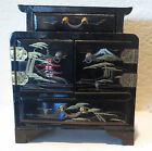Vintage Japanese Black Lacquer Wooden Jewelry Box Table Top Storage Box Painted