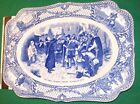 COLONIAL TIMES by CROWN DUCAL ENGLAND BLUE PILGRIM RECTANGULAR PLATE 8